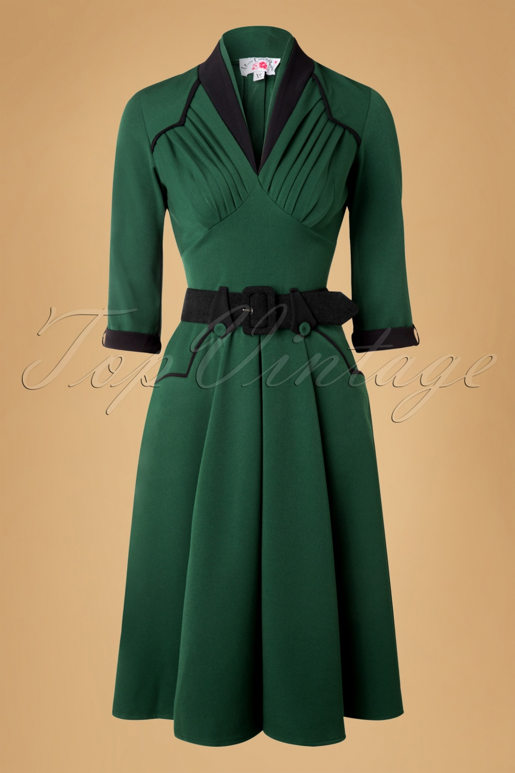 Plus Size Vintage Dresses, Plus Size Retro Dresses 50s Abigail Swing Dress in Forest Green £103.34 AT vintagedancer.com