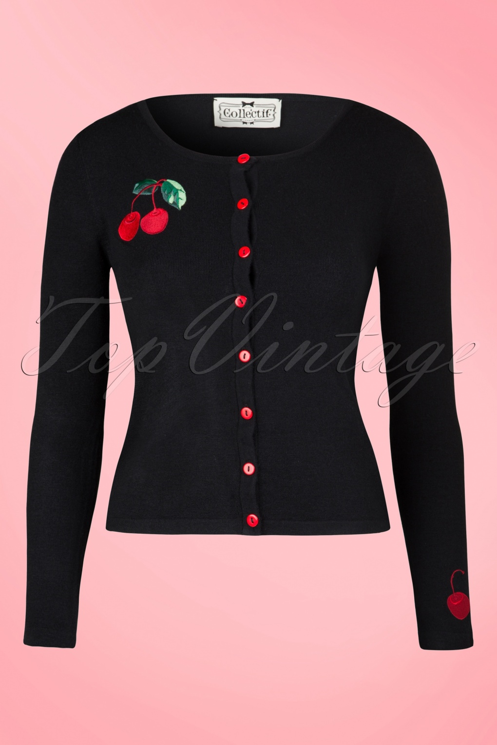 1950s Style Sweaters, Crop Cardigans, Twin Sets 50s Jo Cherry Cardigan in Black £43.83 AT vintagedancer.com