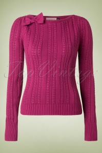 50s The Escape Bow Top in Raspberry Pink