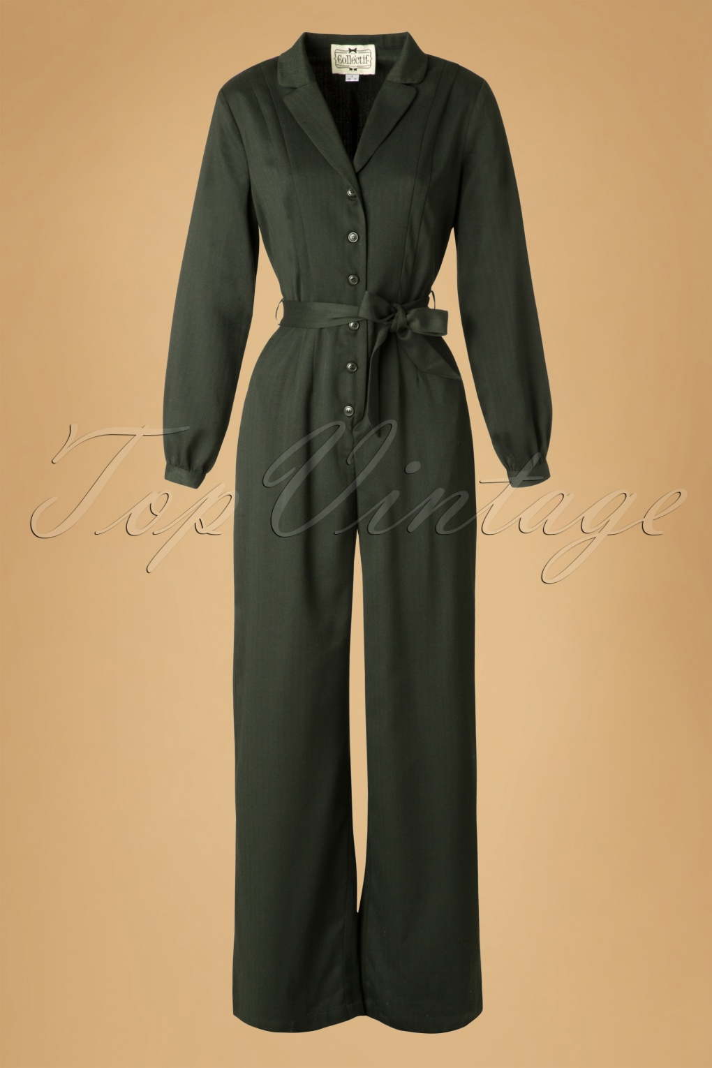 40s Jacqueline Jumpsuit in Dark Green