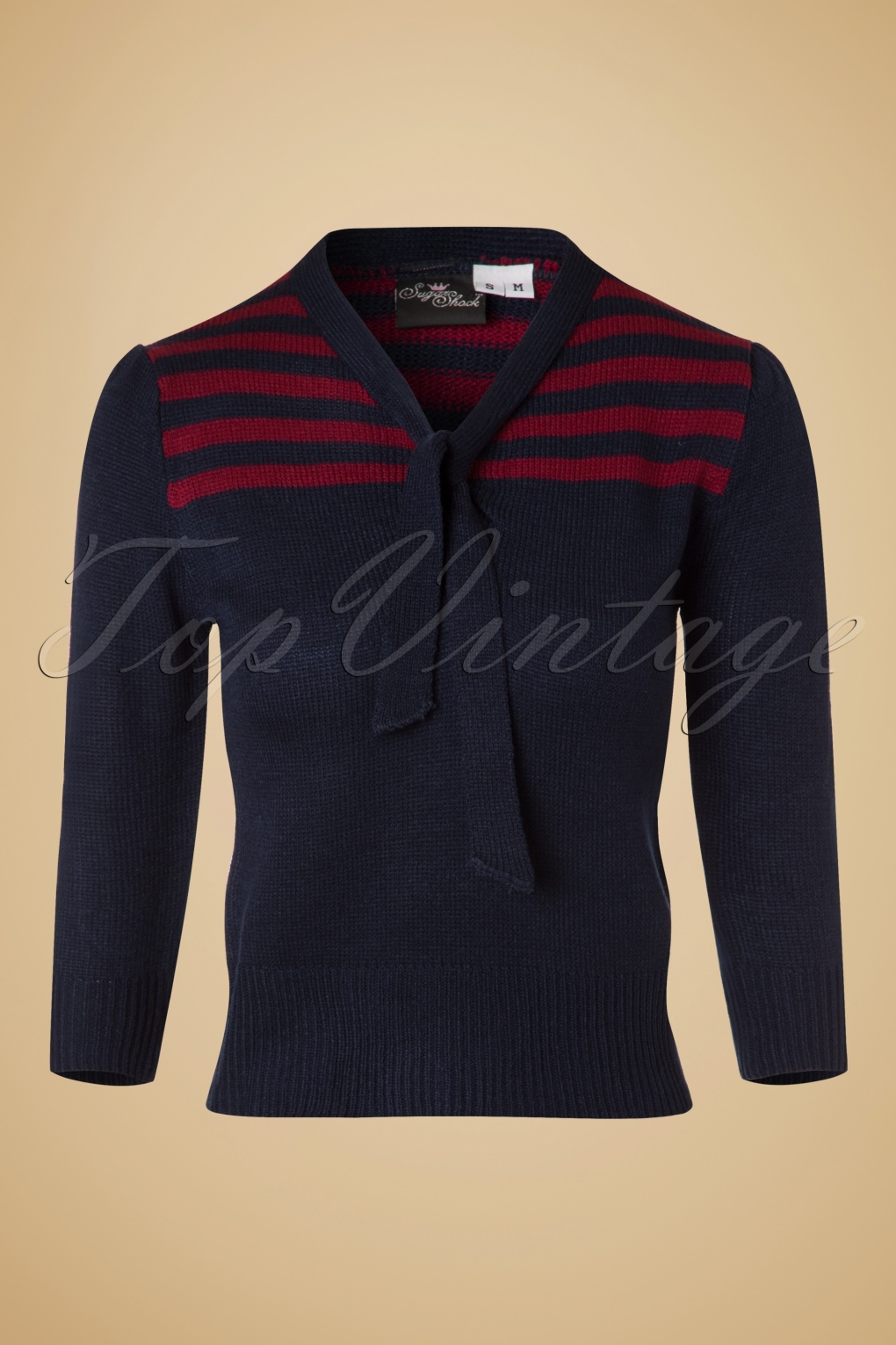 Vintage Sweaters: Cable Knit, Fair Isle Cardigans & Sweaters 40s Darcey Jumper in Navy £35.51 AT vintagedancer.com