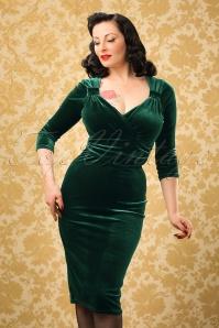 TopVintage Exclusive ~ 50s Annabelle Velvet Pencil Dress in Dark Green