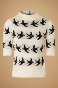 50s Birdy Swallow Jumper in Cream