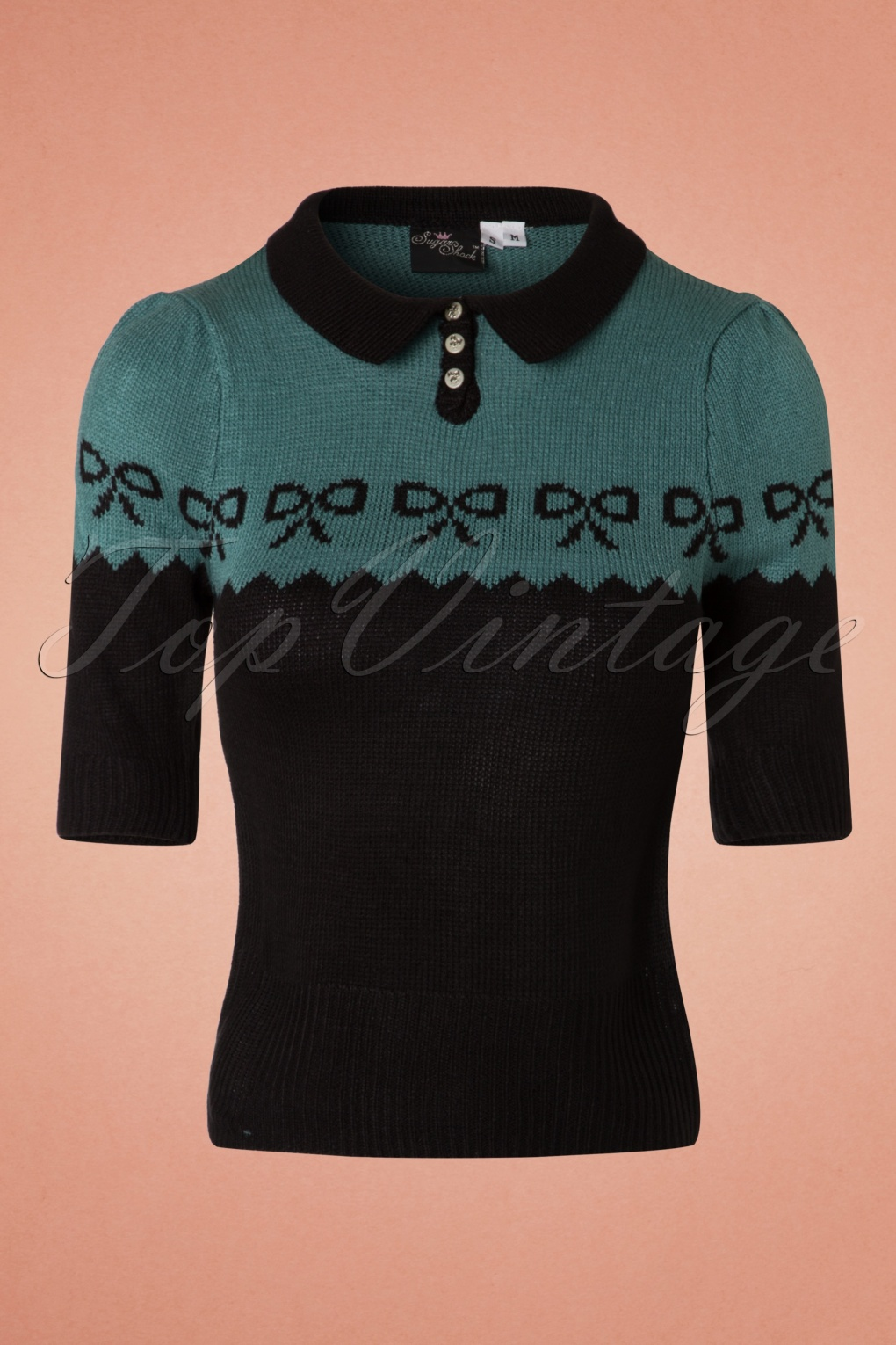 Vintage Sweaters: Cable Knit, Fair Isle Cardigans & Sweaters 40s Berit Bow Jumper in Black and Blue £35.51 AT vintagedancer.com