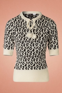 50s Francesca Leopard Jumper in Cream