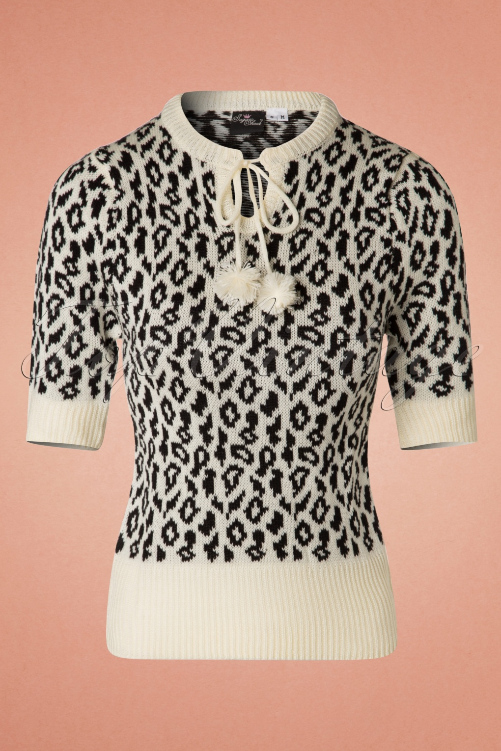Vintage Sweaters: Cable Knit, Fair Isle Cardigans & Sweaters 50s Francesca Leopard Jumper in Cream £35.51 AT vintagedancer.com