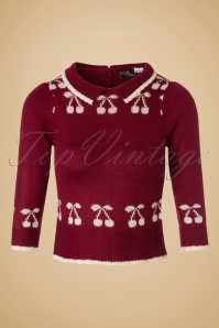 40s Kelsey Cherry Jumper in Wine Red