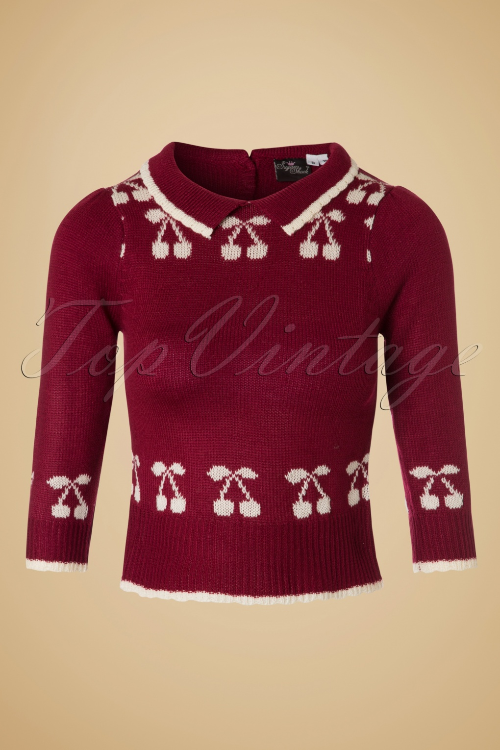 Vintage Sweaters: Cable Knit, Fair Isle Cardigans & Sweaters 40s Kelsey Cherry Jumper in Wine Red £35.51 AT vintagedancer.com