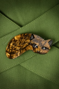 TopVintage exclusive ~ 60s Curling Cat Brooch in Brown