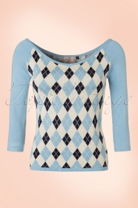 40s Great Hights Check Top in Light Blue