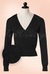 50s Instinct Wrap Top in Black