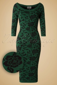 50s Ivana Roses Pencil Dress in Green