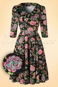50s Kathy Floral Swing Dress in Black