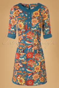 60s Didi Floral Dream Dress in Petrol Blue