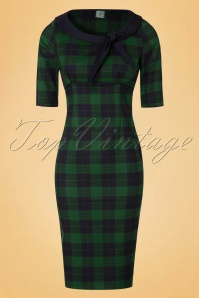 40s Take Me To Paris Pencil Dress in Green
