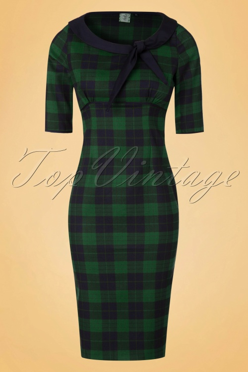 Dancing Days by Banned Green Checked Pencil Dress 100 49 19725 20161110 0004W