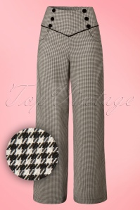 Banned Retro 50s Swept Off Her Feet Trousers in Black and White Houndstooth