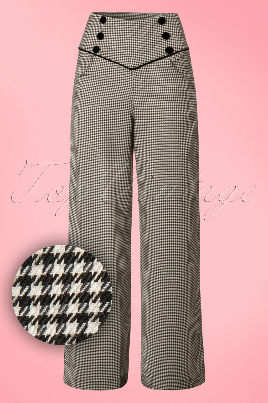 1950s Pants History for Women 50s Swept Off Her Feet Trousers in Black and White Houndstooth £38.79 AT vintagedancer.com