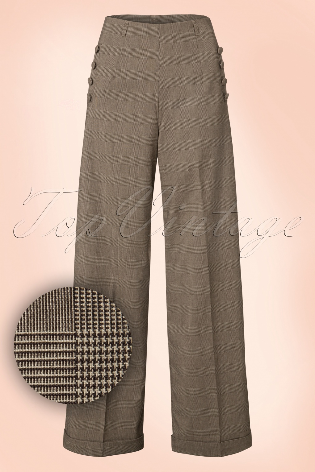 Vintage High Waisted Trousers, Sailor Pants, Jeans 40s Style Crush Check Trousers in Brown £40.14 AT vintagedancer.com